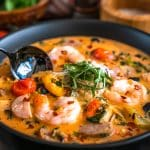 Spicy Calabrian Chile Tomato Soup with sausage and shrimp