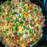 rapid fire recipe Ham & cheese cabbage casserole in a cast iron skillet