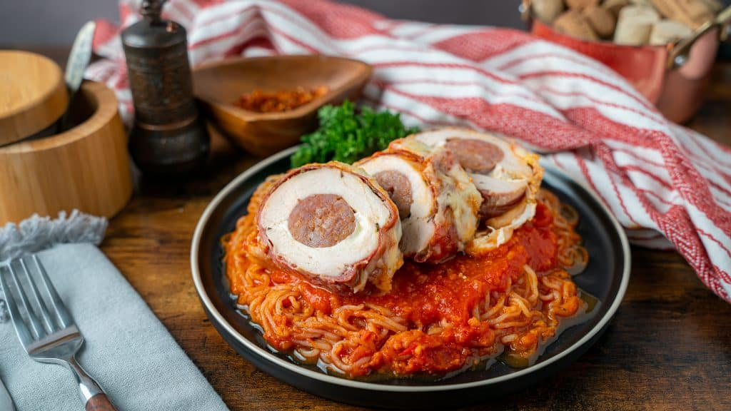 stuffed chicken Parmesan served over miracle noodles tossed in raos marinara