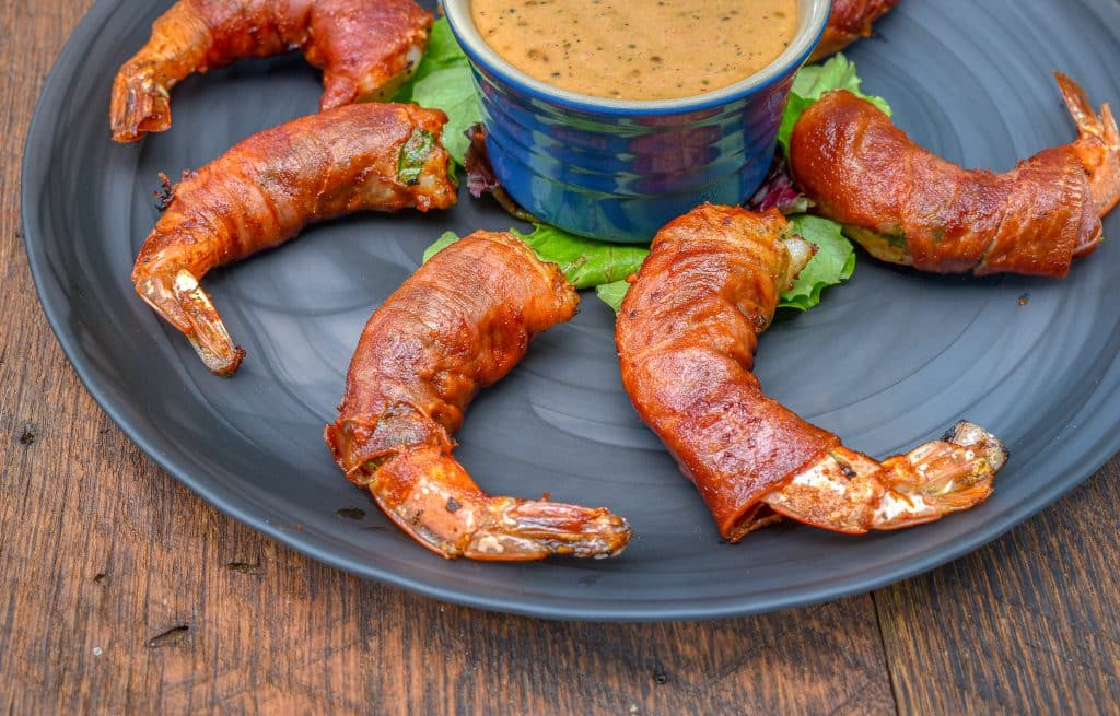 Grilled Prosciutto wrapped Shrimp served with Calabrian chili aioli