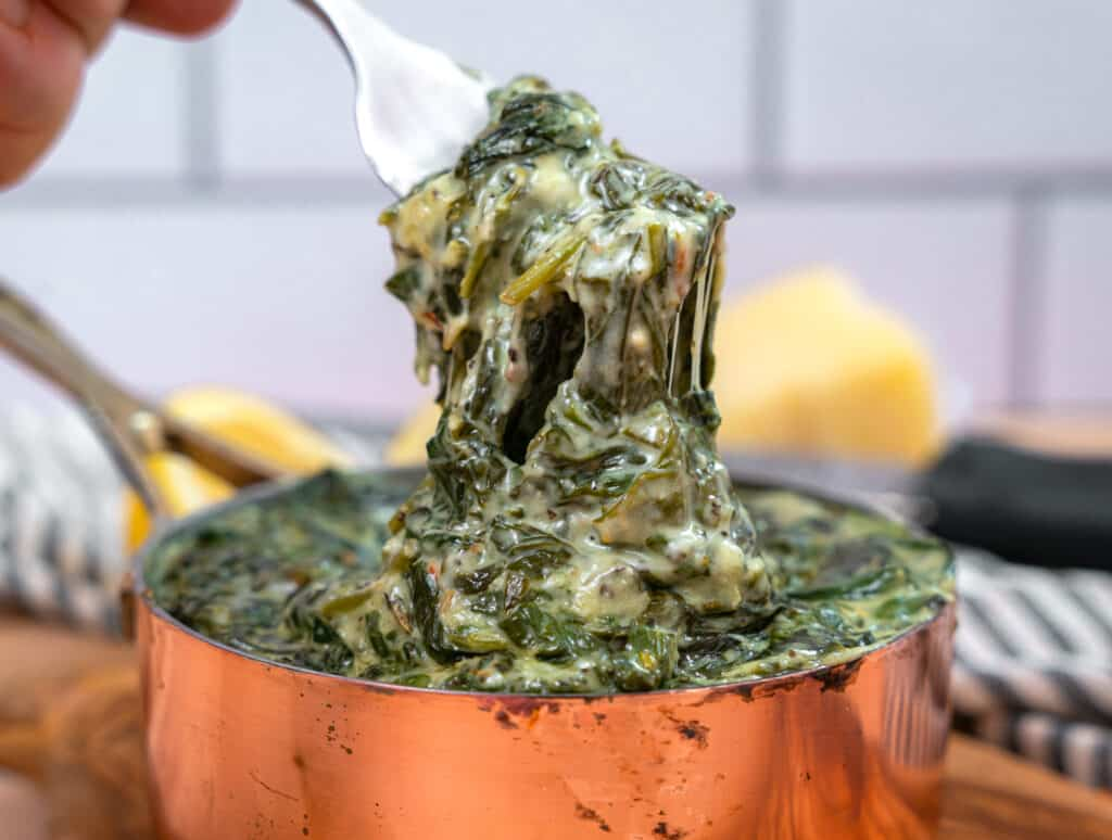 closeup of a fork full of creamed spinach