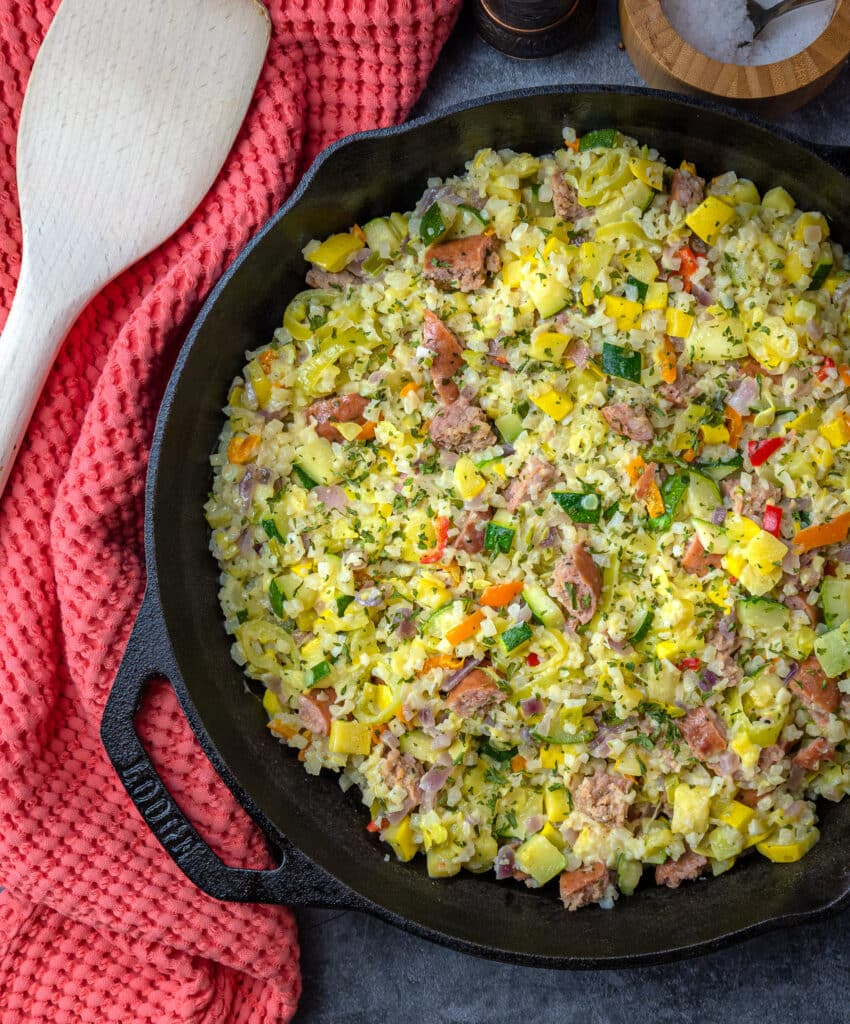 overhead shot of cauliflower risotto with Italian sausage