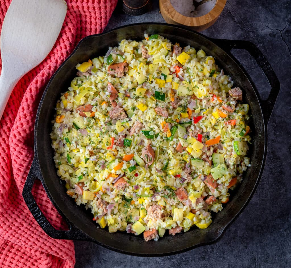 cast iron skillet with cauliflower risotto