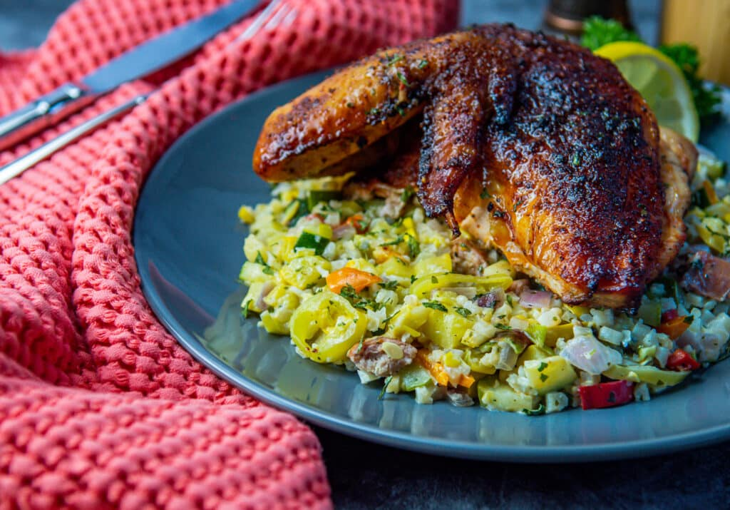plated riced cauliflower with smoked chicken
