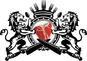 Culinary Lion Logo - heraldry of two lions fighting over a steak with crossed knives