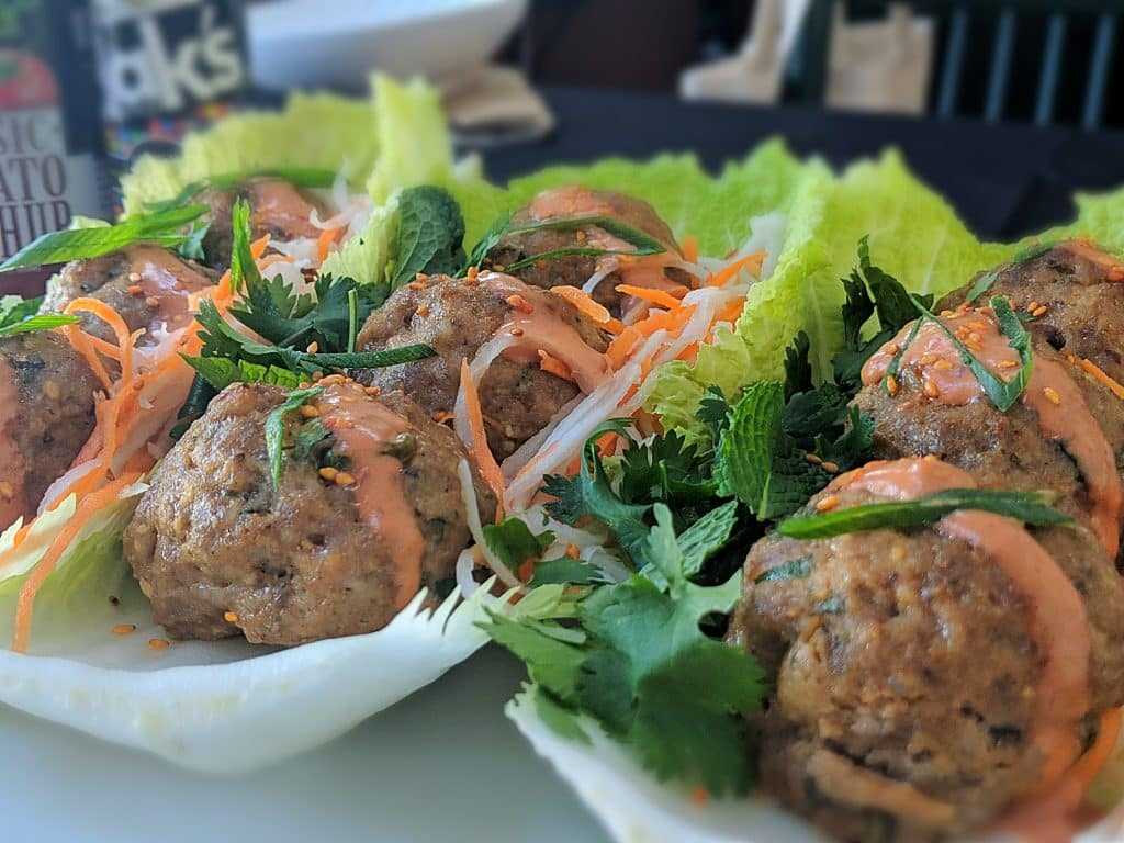 Banh Mi Meatballs  with Napa cabbage lettuce cups